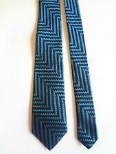 "DUCHAMP -  TURQUOISE & NAVY - SILK NECK TIE - MADE IN ENGLAND - 58""LONG 3""WIDE"