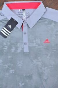 NWT Adidas Golf Climacool Performance Polo Shirt Gray Geo Print Men's 2XL XXL