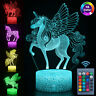 3D Unicorn Lamp LED Night Light Visual Illusion Colouring Touch Kids Bedroom US