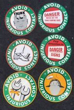 Lot of 6 US Steel Homestead Works Advertising Safety Stickers 1952- VINTAGE