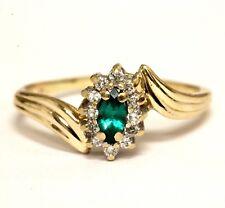14k yellow gold created emerald .18ct SI1 H diamond ring womens 2.8g estate 9