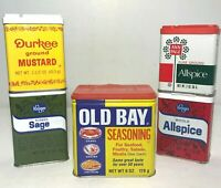 Lot of 5 Vintage Spice Tins Old Bay, Durkee, Ann Page Kroger Yellow Green & Red