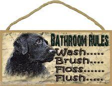 "Black Lab Bathroom Rules Flush Floss Brush Wash Bathroom Sign Plaque Decor 5X10"""