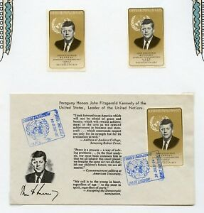 PARAGUAY SELECTION JOHN F. KENNEDY TWO FIRST DAY COVERS IMPERF SET MINT HINGED