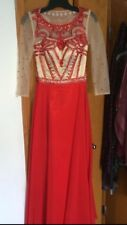 Custom Made Red Chiffon Prom Dress With Sleeves Size 2