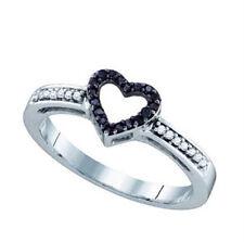 10K Whitegold Ladies Black Diamond Heart Ring 0.12 Ct