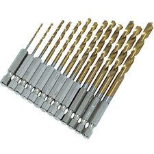 13pc Hss High Speed Steel Drill Bit Set Hex Shank Bits - Titanium Coated New