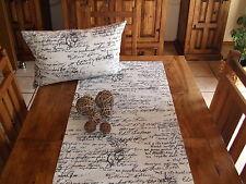 Tischläufer Schrift, Cremeweiß, Schwarz, Baumwollmischung