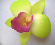 Hawaii Bridal Wedding Party Orchid Flower Hair Clip ~ GREEN w/ PURPLE (QTY 2)