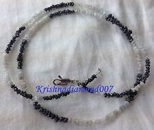 "20.01 ct Natural White & Black Rough Diamond Beads 16"" Strand .925 Silver Clasp"