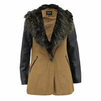 Ladies Jacket Brave Soul Womens Trench Coat Wool Mix Faux Fur PU PVC Winter New
