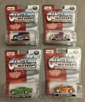 "4x Maisto Custom Shop Modell ""Diecast Collection"" 1:64 - 2008 - Neu Ovp Moc"