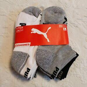 PUMA Boy's 6 Pair Low Cut Cushioned Socks SV3 Multicolor Large (4-9.5) NWT