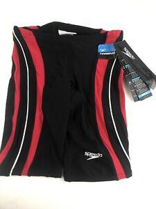 NWT Speedo Rapid Splice Jammer Mens Performance Swimsuit 26 Black/Red MSRP$49