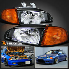 For 1992-1995 Honda Civic 2Dr/3Dr Hatch JDM Black Headlights+Corner Lights 4PC