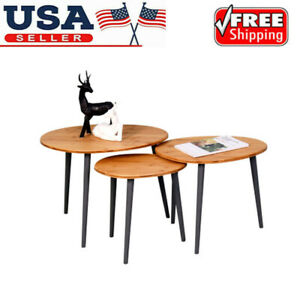 3Pcs Side Coffee Nesting Stacking Cocktai Tables Set Living Room Bedroom Brown
