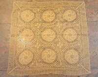 Tischdecke gestrickt Mitteldecken feine Handarbeit beige ca.  80 x 80 cm