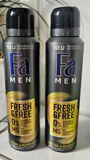 2 x Fa Deospray Men Fresh & Free 48h 150ml 0% Aluminiumsalze