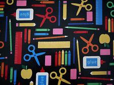 50 x 70 cm Kaufman plastificada algodón, recubierto de tela, escuela, School