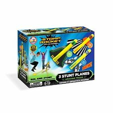Stomp Rocket Stunt Planes w/pad- 3 Foam Plane Toys for Boys and Girls - Outdoor
