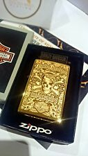 24Ct Gold Plated Zippo Petrol Flip Top Refillable Lighter Harley Davidson Boxed