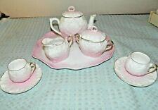 Porcelain Bisque Pink Child Tea Set, Unknown Maker 10 Pieces