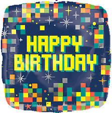 Amscan International 3557801 Birthday Pixels Foil Balloon