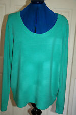 NEW Sz 20 Green Soft touch fine knitted scoop neck light weight jumper top