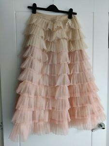 Chicwish Gorgeous Pink Beige Tulle Midi Skirt Size XS