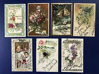 7 Greetings Antique Postcards USA CITY NAMES, Holidays, Glitter. For Collectors