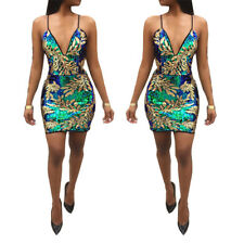 Women V neck sequins print bodycon clubwear party cocktail evening mini dress