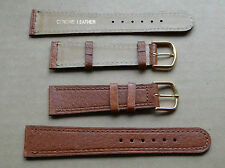Light brown/tan leather gents watch strap, bright gold colour buckle, size 20mm.