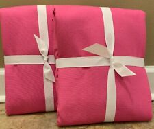 """NEW 2PC Pottery Barn Kids Quincy Cotton Canvas BLACKOUT Panel 44x84"""" BRIGHT PINK"""