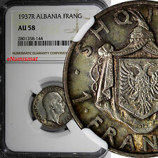 Albania Zog I Silver 1937 R 1 Frang Ar NGC AU58 Toned Better Date KM# 16