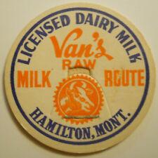 Milk Bottle Cap Van/'s Dairy Hamlton, Montana