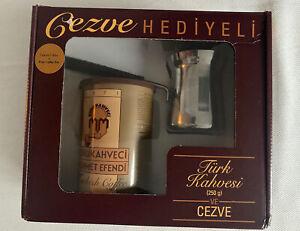 Turkish Coffee Pot Ibrik Kettle Jazzva Cezve & Turkish Coffee 250g - Gift Box