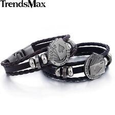Brown Handmade Leather Bracelet Poker Flush Bead Charm Wristband Rope Men Women