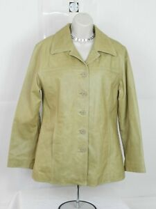 Women Leather Limited Beige Leather Jacket Size M, removable Liner
