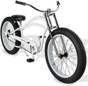 "MICARGI 26"" Fat Tires Stretch Beach Cruiser Bicycle Bike Seattle Matte White NEW"