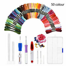 50PCS Magic Embroidery Pen Punch Needle 1 Set Knitting Sewing Tool DIY Crafts UK
