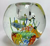 "Murano Style Fish Aquarium Hand Blown Paperweight Art Glass 3.5"" HEAVY"