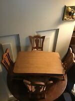 "VINTAGE Wood DOLL FURNITURE TABLE 8 1/4"" x 5 3/4"" 3 1/4"" & cane seat chairs"
