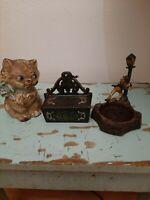 Antique cast iron kitten bank (lot)