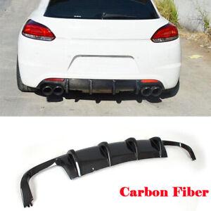 Carbon Fiber Rear Bumper Diffuser Lip Spoiler for VW Scirocco R Coupe 2009-2014