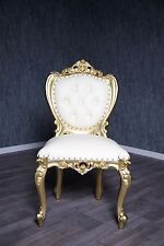 Chaise baroque antique massif or rembourrage blanc style Chippendale Art vintage