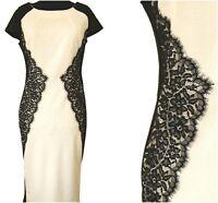 ex Miss Selfridge Lace Insert Bodycon Monochrome Midi Occasion Party Races Dress