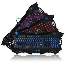 Newest Aula LED Backlit 3 Color Expert Gaming Keyboard For Windows Xp, Vista, 7