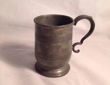 "Antique 1840 Charles Bentley Hallmarked Pewter Tankard Cann Scroll Handle 3.25""T"