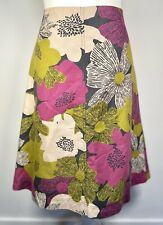 LAURA ASHLEY WEEKEND linen blend daisy floral PINK & LIME knee length SKIRT 12