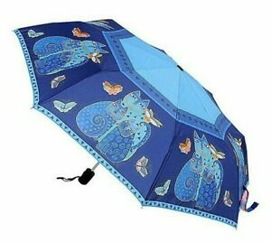 LAUREL BURCH Compact Umbrella BLUE INDIGO CATS ~ Auto Open & Close ~ New